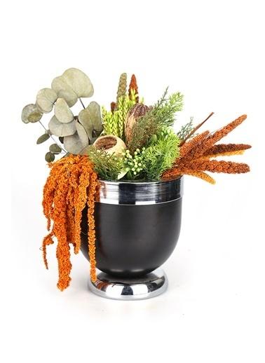 Kibrithane Çiçek Yapay Çiçek Metal Gümüş Saksı Kuru Çiçek Aranjman Kc00200852 Renkli